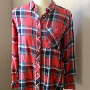 EUC⭐️Arizona Jean Co Red Boyfriend Fit Plaid Shirt